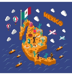 Mexican touristic attractions symbols isometric vector