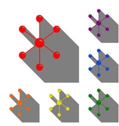 Molecule sign set of red orange vector