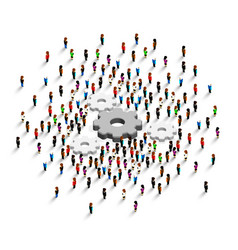 people stand around a gear vector image