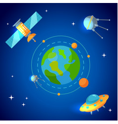 Planet earth and satellites in orbit vector