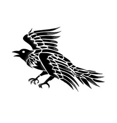 Raven flying side tattoo vector