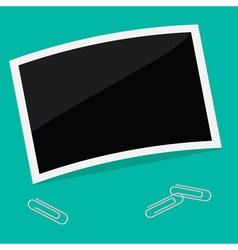 Rectangular instant photo template and paperclip vector