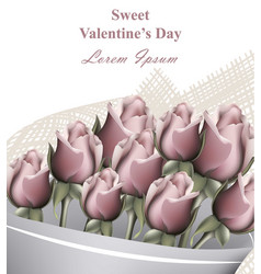 Roses bouquet valentine day greeting card vector