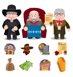 set of characters and icons of religious subjects vector image