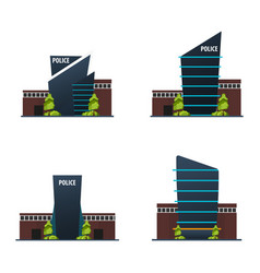 set of city police station department modern vector image
