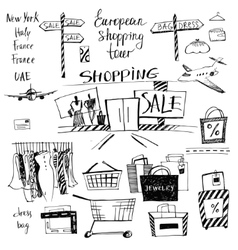 set of hand-drawn for shopping and travel vector image vector image