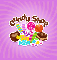 sugar sweets background with colorful vector image
