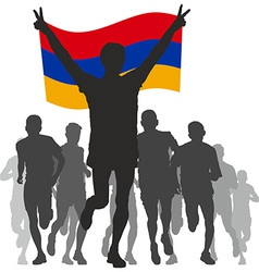 Winner with the armenia flag at the finish vector