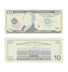 10 dollars banknote cartoon us currency vector image
