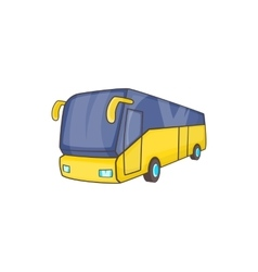 Yellow tourist bus icon cartoon style vector