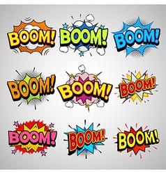 Comic book boom speech bubble set vector image