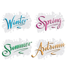 Season inscription winter spring summer autumn vector