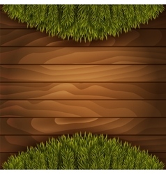 Christmas branches on wooden background vector