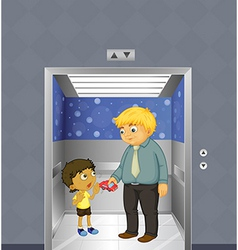 A man and a kid inside the elevator vector