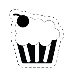 Cup cake tasty sweet dessert cherry pictogram vector