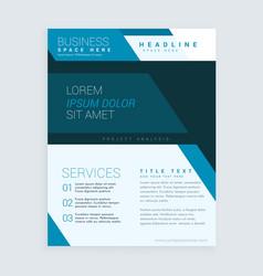Blue geometric brochure flyer design template for vector