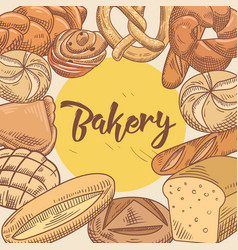 Bakery hand drawn design with bread and loaf vector
