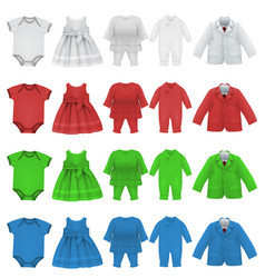 Set of baby bodysuit dress and jacket blank vector