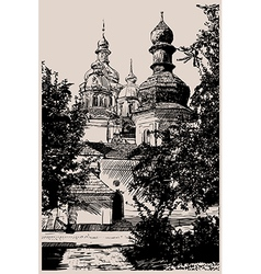 Ukrainian church engraving vector