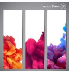 Three vertical banners with swirling ink vector