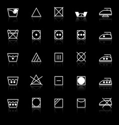 Fabric care sign and symbol icons with reflect on vector