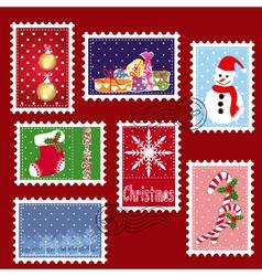 christmas stamp postage vector image