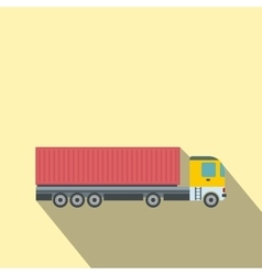Container at the dock with truck flat vector