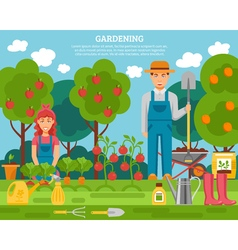 Farmer family concept colorful poster with growing vector