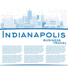 Outline indianapolis skyline with blue buildings vector