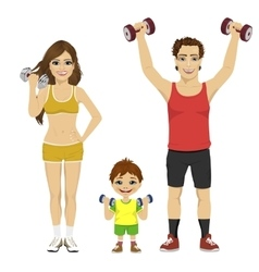 Happy family doing fitness sport with dumbbells vector