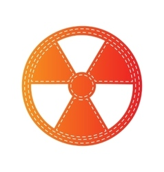 Radiation round sign orange applique isolated vector