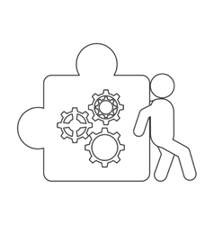 Person pushing puzzle piece with gears icon vector