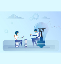 Abstract business man and woman sitting light bulb vector