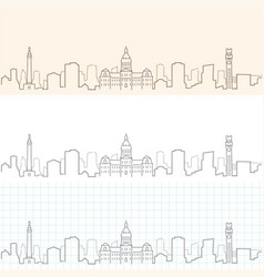 Baltimore hand drawn skyline vector
