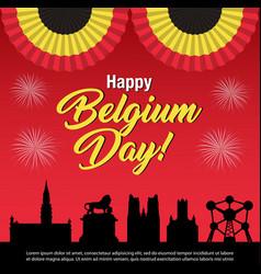 Belgium national day celebration banner vector