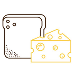 bread toast with cheese vector image