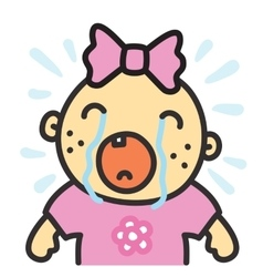 Cartoon crying baby girl isolated vector