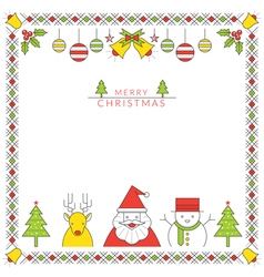 Christmas character line style and ornament frame vector