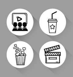 Cinema with popcorn soda movie and clapper tool vector