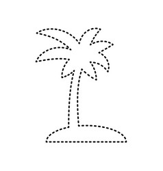 Coconut palm tree sign black dashed icon vector