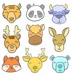 Cute animal head colorful doodles vector