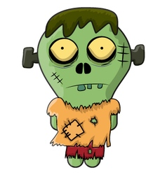 Cute Zombie Frankenstein for Halloween vector image