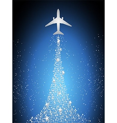 Festive silhouette aircraft fly over dark blue sky vector image
