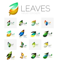Futuristic design eco leaf logo set vector image