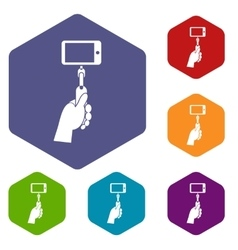 Hand holding a selfie stick icons set vector