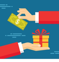 Human Hands with Dollar Money and Present Gift vector image