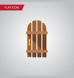 isolated gate flat icon wooden fence vector image vector image