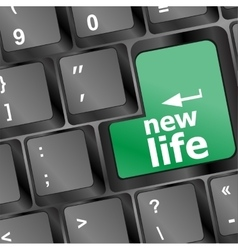 keyboard with new life words vector image