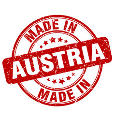 Made in austria red grunge round stamp vector