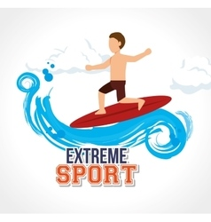 Man surfin on wave extreme sport vector